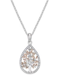Giani Bernini Cubic Zirconia Two Tone Tree Pendant Necklace In Sterling Silver Two Tone