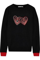 Chinti And Parker Embroidered Wool Cashmere Blend Sweater Black