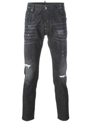 Dsquared2 Skater Whiskered Microstudded Jeans Black