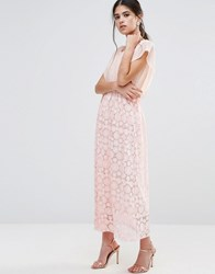 Traffic People Maxi Dress With Burnout Skirt And Kimono Top Peach Pink