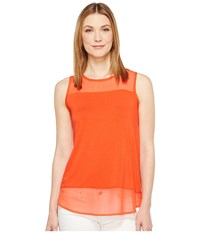 Vince Camuto Sleeveless Top W Poly Chiffon Yoke And Hem Red Hot Women's Sleeveless