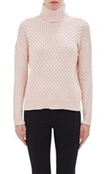 Barneys New York Honeycomb Stitched Turtleneck Sweater Pink