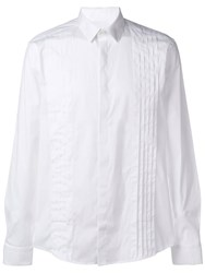 Les Hommes Pleated Front Formal Shirt White