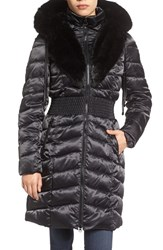 Laundry By Shelli Segal Women's Faux Fur Trim Hooded Puffer Coat
