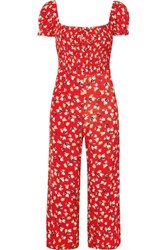 Faithfull The Brand Della Smocked Floral Print Crepe Jumpsuit Red