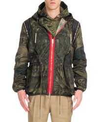 Givenchy Camo Money Print Hooded Short Parka Jacket Khaki