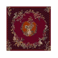 Klements Garden Puppets Medium Silk Scarf Red