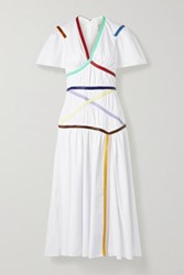 Rosie Assoulin Criss Cross Applesauce Faux Leather Trimmed Cotton Blend Poplin Midi Dress White