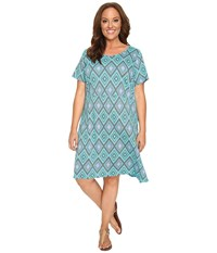 Fresh Produce Plus Size Diamonds Sadie Dress Luna Turquoise Women's Dress Blue
