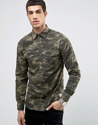 Jack And Jones Vintage Shirt In Regular Fit With All Over Camo Caviar Camo Green