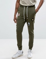 Only And Sons Joggers With Badge Detailing Olive Night Green
