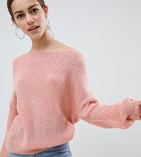 Missguided Petite Light Weight Twist Back Jumper Pink White Multi