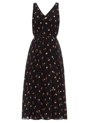Rebecca Taylor Meadow Print V Neck Silk Georgette Dress Black Print