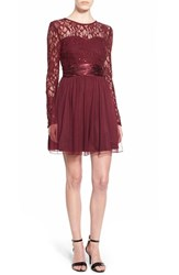Junior Women's Speechless Lace Bodice Fit And Flare Dress