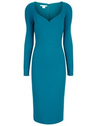 Antonio Berardi Blue Wool Sweetheart Long Sleeved Dress Green