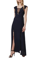 Topshop Petite Women's Lace Trim Flutter Sleeve Maxi Dress Navy Blue