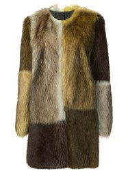 Vera Wang Colour Block Fur Coat Multicolour