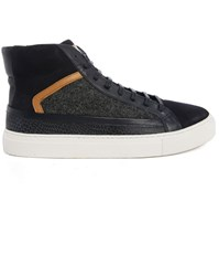 Billtornade Pitbull Navy Flannel Dual Fabric High Top Sneakers