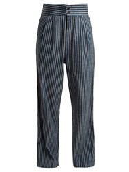 Ace And Jig Kate Wide Leg Striped Cotton Trousers Blue Stripe
