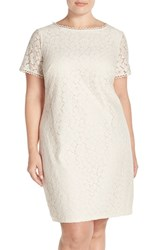 Plus Size Women's Adrianna Papell Short Sleeve Floral Lace Sheath Dress