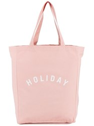 Canvas 'Holiday' Logo Tote Pink Purple