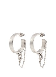 Eddie Borgo 'Thin Safety Chain' Hoop Earrings Metallic
