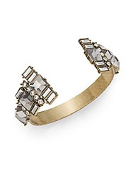 Saks Fifth Avenue Mixed Stone Cuff Goldtone Grey Gold