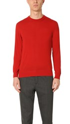 Z Zegna Merino Wool Crew Sweater Red