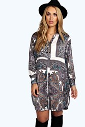 Boohoo Donna Paisley Shirt Dress Multi