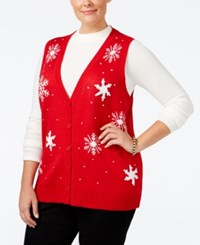 Karen Scott Plus Size Snowflake Sweater Vest Only At Macy's New Red Amore