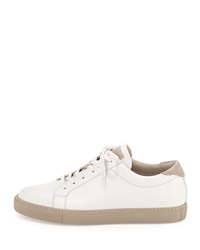 Brunello Cucinelli Leather Lace Up Sneaker White