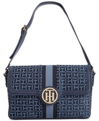 Tommy Hilfiger Maggie Monogram Jacquard Grosgrain Small Convertible Satchel Navy Lapis