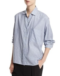 Vince Striped Cropped Oxford Shirt Blue