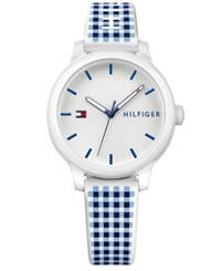 Tommy Hilfiger Women's Gingham Silicone Strap Watch 38Mm White