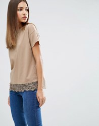 Asos Lace Trim Short Sleeve T Shirt Nude Beige