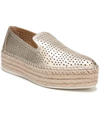 Franco Sarto Elliot Perforated Flatform Espadrilles Gold