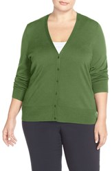 Plus Size Women's Sejour V Neck Cardigan Green Willow