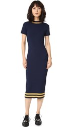 Again Parker Midi Dress Navy With Yellow Trim