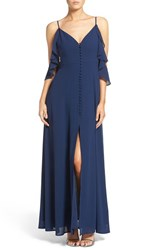 Lulus Women's Lulu's Off The Shoulder Front Slit Chiffon Gown Navy