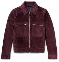 Tom Ford Slim Fit Suede Blouson Jacket Burgundy