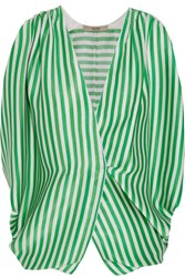 Etro Wrap Effect Striped Ribbed Silk Blouse Green