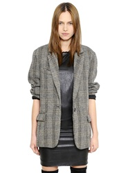 Etoile Isabel Marant Oversized Wool Herringbone Jacket Brown Beige