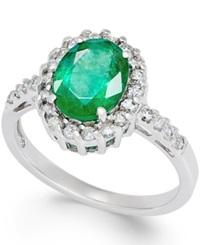 Macy's Emerald 1 2 3 Ct. T.W. And Diamond 1 3 Ct. T.W. Ring In 14K White Gold