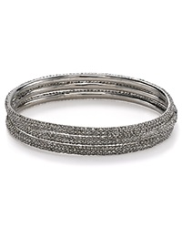 Abs By Allen Schwartz Pave Bangles Set Of 3 Silver