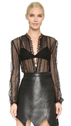 Rodarte Lace Blouse With Ruffle Trim Black