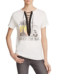 Vintage Havana Sun Meets Sea Lace Up Tee Ivory