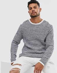 Only And Sons Knitted Jumper In Slub Stripe White
