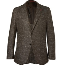 Isaia Donegal Silk Wool And Cashmere Blend Blazer Brown