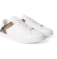 Burberry Panelled Leather And Checked Cotton Twill Sneakers White