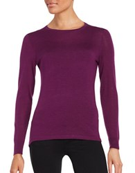 Lord And Taylor Crewneck Merino Wool Sweater Dark Purple